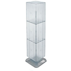 Four sided Pegboard Tower Floor Display On Revolving Base choice Of Color
