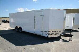 New 8 5 X 24 8 5x24 Enclosed Cargo Motorcycle Snowmobile Atv 4 wheeler Trailer
