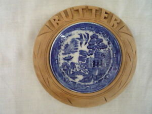 Vintage Carved Butter Dish Blue Willow Liner English Kitchenalia Cottage Display