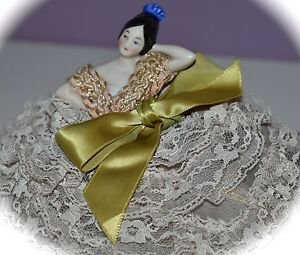 Stunning Antique Porcelain Half Doll Pin Cushion With 8 Tier Lace Dress Germany