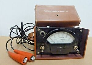 Vintage Electro Standard Corporation A C Volt Meter 0 600 Leather Case