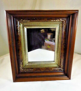 Antique Victorian Eastlake Wood Wall Mirror Carved Picture Frame Painting 17x15