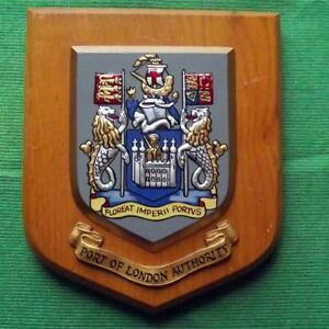 Old Vintage Port Of London Painted Royal Navy Ship Badge Crest Shield Plaque
