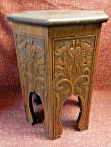 Antique Art Deco Fully Carved Arts Crafts Mission Oak Wood Table Plant Stand