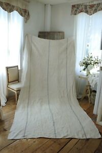 Antique Cart Cover Blue Stripes For Bed Cover Or Upholstery Fabric Hemp Cloth