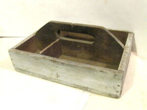 Vintage Antique Primitive Rustic Folk Wood Tray Carrier Nail Tool Box Handmade