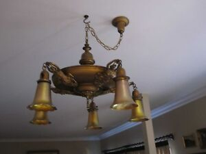 Antique Handel Maiden Figural Ceiling Light Fixture W 5 Signed Quezal Shades