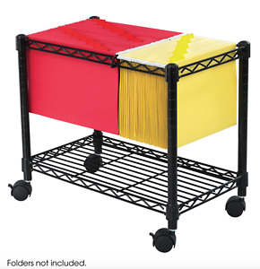 Single Tier Metal Rolling File Cart For Letter Size And Legal Size Folder Office