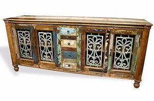 Reclaimed Indian Cabinet Sideboard Tv Stand Wood W Wrought Iron Free Shipping