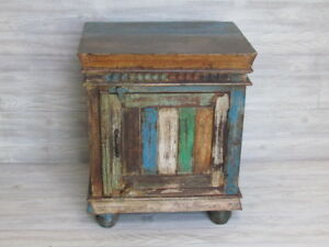 Reclaimed Indian Cabinet Bedside Decor Made Of Rustic Hand Carved Wood