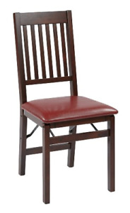 Office Star Hacienda Wood And Veneer Folding Chair With Padded Faux Leather Red