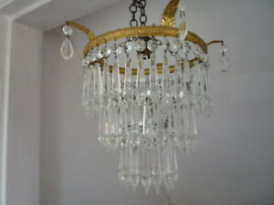 Antique Vintage French Prism Crystal 3 Tier Waterfall Chandelier Ceiling Light