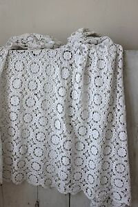 Vintage French Hand Made Bed Cover Coverlet Crochet Linen Cotton 69x80 Old