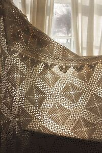 Vintage French Crocheted Crochet Textile Handmade Lace Textile Bed Cover