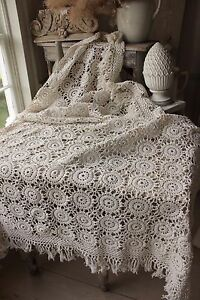 Vintage French Hand Made Coverlet Crochet 64x73 Curtain Bed Cover Tablecloth Etc