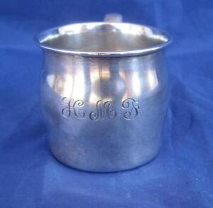 Lunt Sterling Silver Baby Cup 120 W Handle Monogrammed Kmf 3 25 X2 Nice 47gms