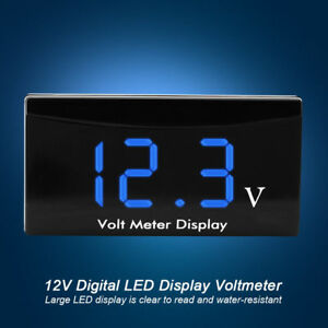 12v Led Waterproof Display Voltmeter Car Voltage Volt Gauge Panel Meter Blue