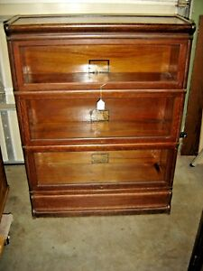 Antique Quarter Sawn Oak Globe 3 Stack Bookcase Grade 299 Ogee Style 443