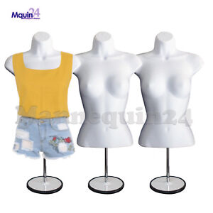 A Lot 3 Female Torso Mannequins W 3 Stands 3 Hangers White Dress Forms