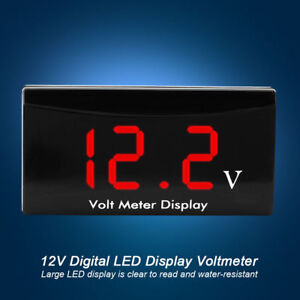 12v Led Waterproof Display Voltmeter Car Voltage Volt Gauge Panel Meter Red