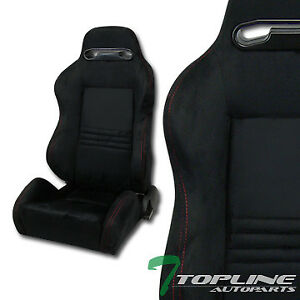 T R Sport Blk Suede Red Stitches Reclinable Racing Bucket Seats Sliders Pair T01