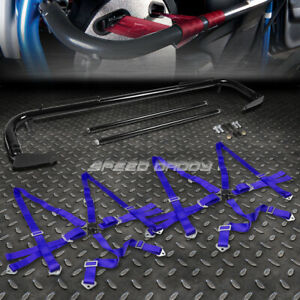 Black 49 Stainless Steel Chassis Harness Bar Blue 6 Pt Strap Camlock Seat Belt