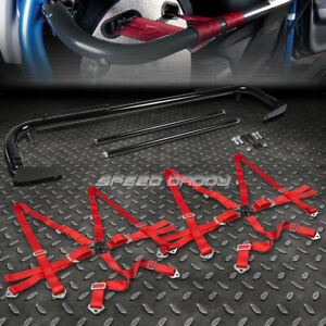 Black 49 Stainless Steel Chassis Harness Bar Red 6 Pt Strap Camlock Seat Belt