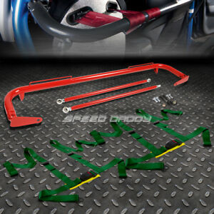 Red 49 Stainless Steel Chassis Harness Bar Green 4 Pt Strap Buckle Seat Belt