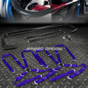 Black 49 Stainless Steel Chassis Harness Bar Blue 4 Pt Strap Camlock Seat Belt