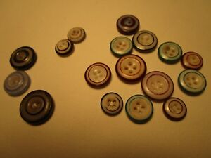 Lot Of 16 Antique China Ringer Buttons Colors Are Blue Green Red Brown 4ship