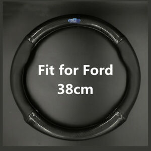 38cm Carbon Fiber Car Steering Wheel Cover 15 Leather Anti Slip Fit For Ford