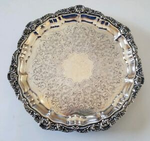Poole 3208 Authentic Reproduction Silverplate 10 Inch Footed Tea Tray Ornate