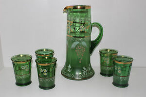 Antique Northwood Hand Painted Green Glass Pitcher 5 Tumblers Floral Gold