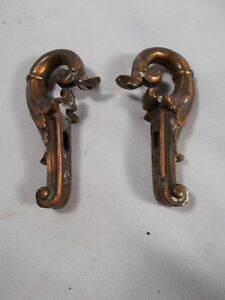 Antique Art Nouveau Pair Of Side Arms For Light Fixture Lamp Clock Bronze Patina