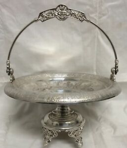 Victorian Aesthetic Simpson Hall Miller Silver Plate Brides Basket Centerpiece