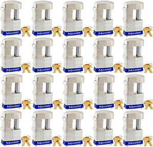 Lock Set By Master 37ka lot Of 20 Keyed Alike Shrouded Laminated Padlocks New