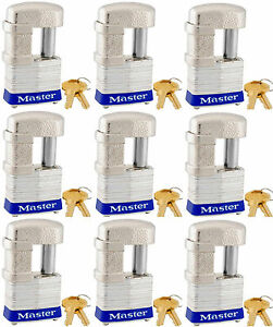 Lock Set By Master 37ka lot Of 9 Keyed Alike Shrouded Laminated Padlocks New