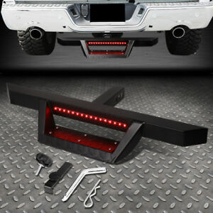 For 2 Tow Trailer Receiver Black Hitch Step Bar Bumper Guard W led Brake Light