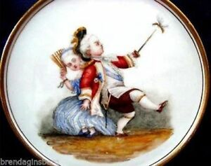Antique Meissen Trivet Tray Plateau Hand Painted Children Chasing Bee 1010