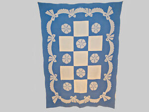 Matched Pair Blue White Super Graphic 1930s Quilts Swags 90 X 64