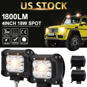 2x 4 18w Cree Led Work Light Bar 4wd Offroad Spot Fog Atv Suv Driving Lamp Jeep