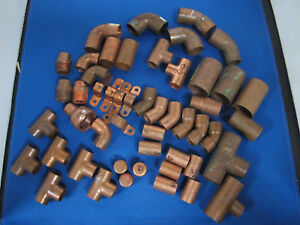 Mixed Lot 50 Copper Plumbing Fittings 1 2 3 4 Inc 3 1 Couplers Elbow Tee