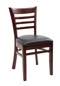 New Gladiator Wooden Mahogany Ladder Back Restaurant Chair With Black Vinyl Seat