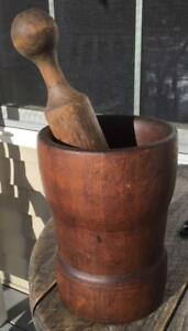 Early Antique Wooden Mortar Pestle Dark Patina 7 5 8 Tall Primitive Americana