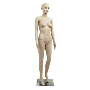Full Body Female Mannequin W Iron Base Plastic Realistic Display Head Turns