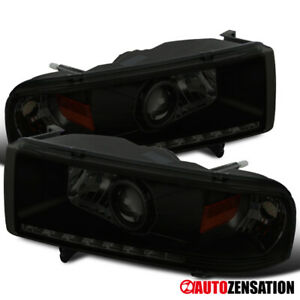 For 1994 2002 Dodge Ram 1500 2500 Black Smoke Led Drl Strip Projector Headlights