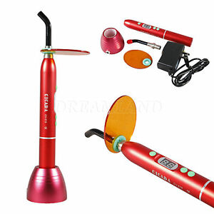 Dental 10w Cordless Wireless 1800mw Led Curing Light Cure Lamp Metal Red F 2