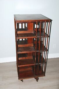 Arts Crafts Antique English Oak Revolving Rolling Bookcase Bookshelf Library