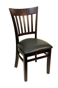 New Gladiator Walnut Vertical Back Wooden Restaurant Chair With Black Vinyl Seat