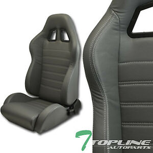 Topline Universal 2x Sp Pvc Leather White Stitch Racing Bucket Seats slider gray